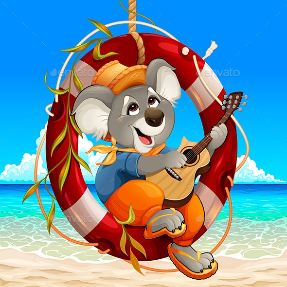 Koala is Playing the Guitar on the Beach - Animals Characters