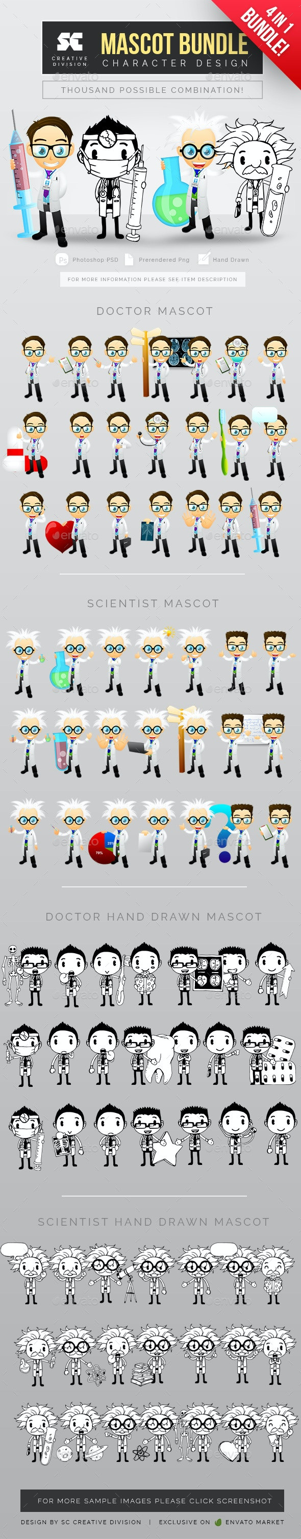 Doctor And Scientist Mascot 4 in 1 Bundle - Characters Illustrations