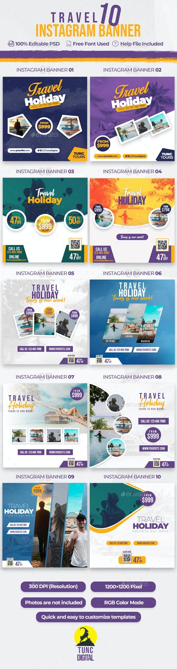 Travel 10 Instagram Banner - Social Media Web Elements