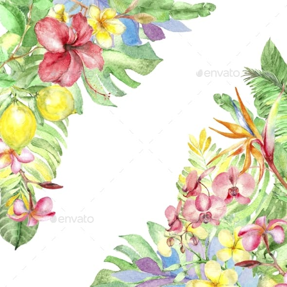 Watercolor Tropic Template