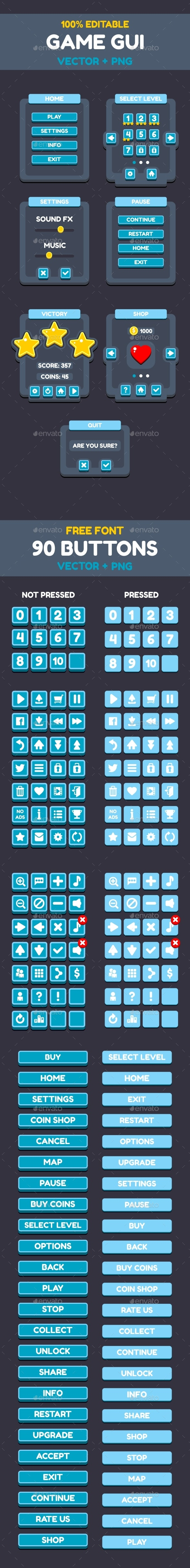 UI Flat Buttons for Your Projects - User Interfaces Game Assets