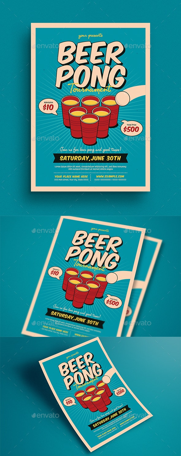 Beer Pong Tournament Flyer - Flyers Print Templates
