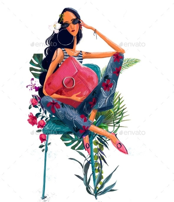 Young Beautiful Summer Woman with Tropical Flowers - People Illustrations