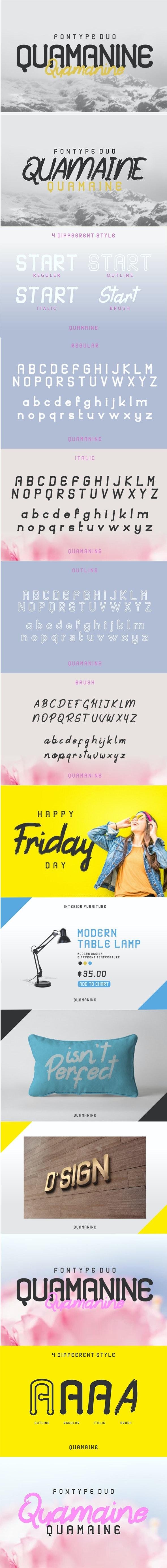 Quamaine Sans n Brush - Sans-Serif Fonts