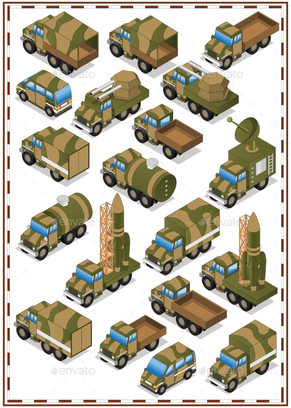 A Set of Military Vehicles. - Objects Vectors