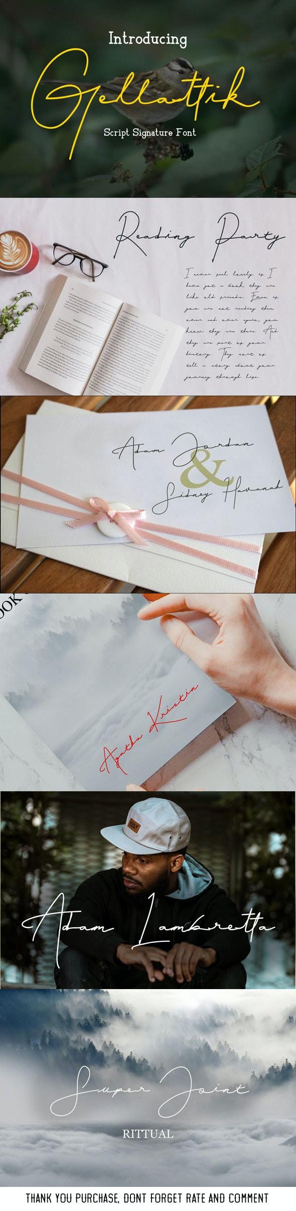 Gellattik - Script Signature Font - Hand-writing Script