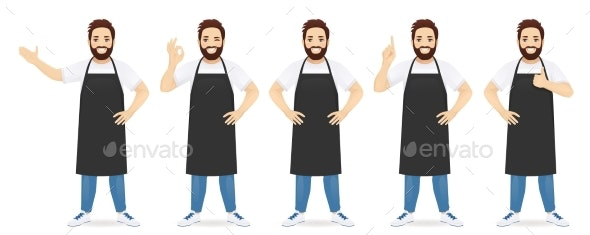 Handsome Man in Apron - People Characters