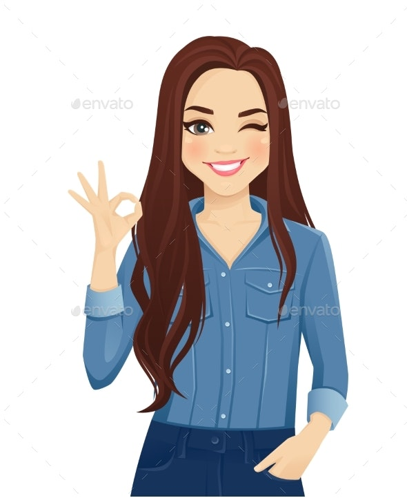 Young Woman Gesturing Ok Sign - People Characters