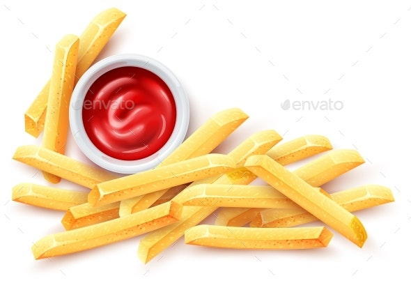 French Fries. Ketchup Tomato Sauce and Roasted Potato Chips. - Vectors