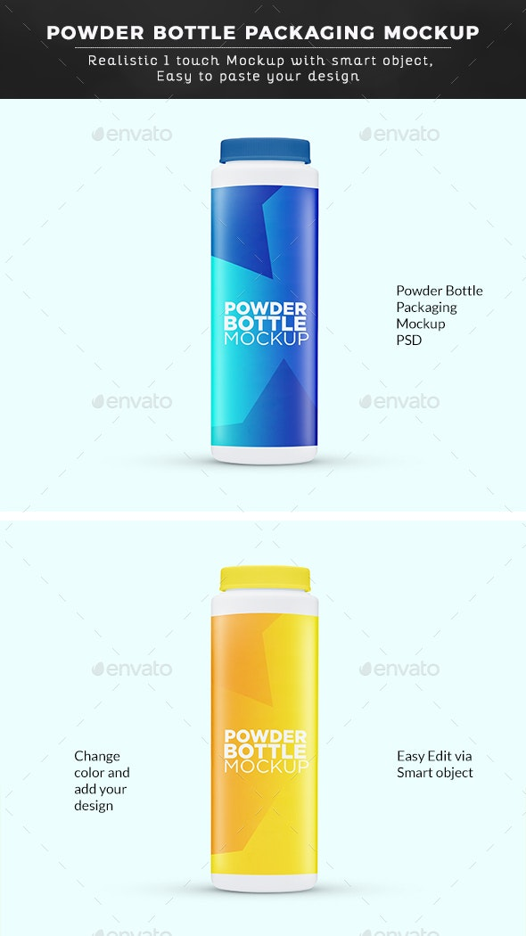 Plastic Powder Bottle Mockup - Miscellaneous Packaging