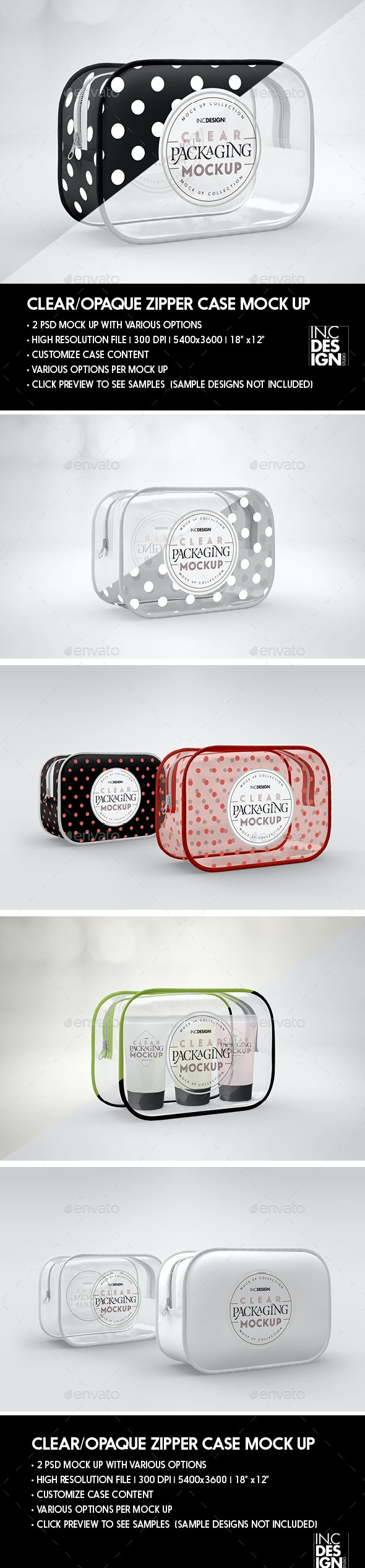 Clear or Opaque Zipper Case Packaging Mockup - Packaging Product Mock-Ups