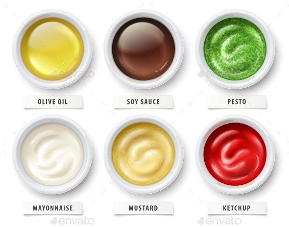 Sauces Olive Oil Mayonnaise Ketchup Mustard Soy Pesto. Vector. - Vectors