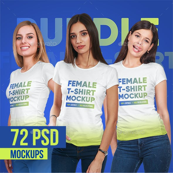 Female T-Shirt Bundle Mockups
