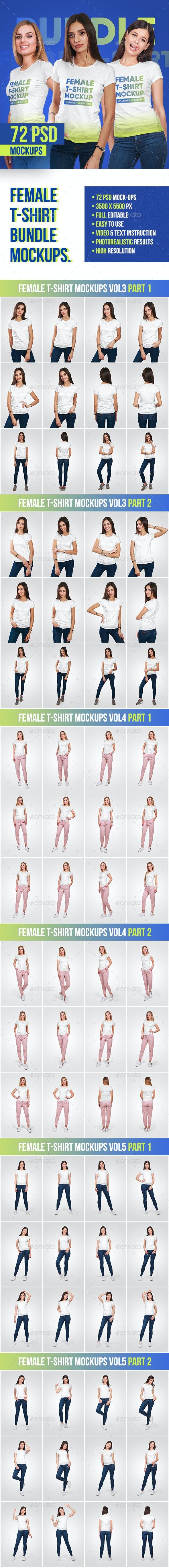 Female T-Shirt Bundle Mockups - T-shirts Apparel