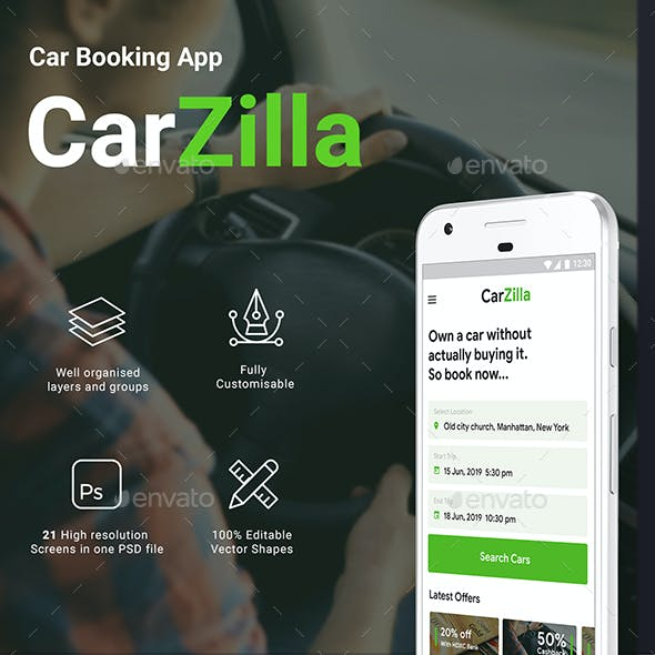 Car Rental (Booking) Self driving App UI Kit | CarZilla
