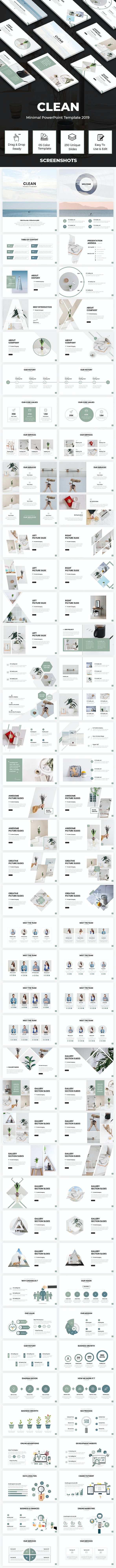 Clean - Minimal PowerPoint Template 2019 - PowerPoint Templates Presentation Templates