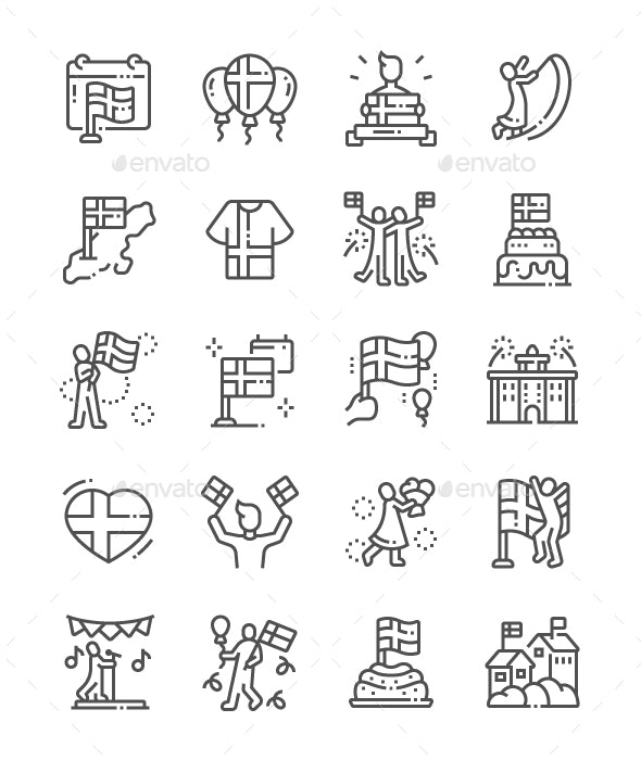 Sveriges Nationaldag Line Icons - Miscellaneous Characters
