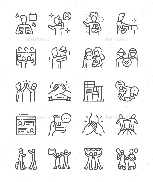 International Friends Day Line Icons - Miscellaneous Characters