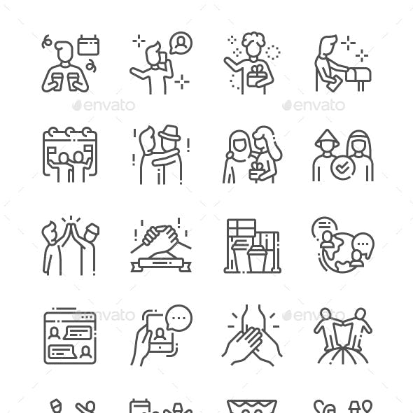 International Friends Day Line Icons