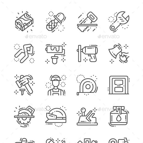 Carpenter Line Icons