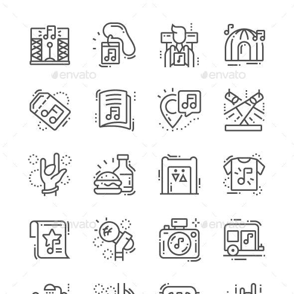 Music festival Line Icons