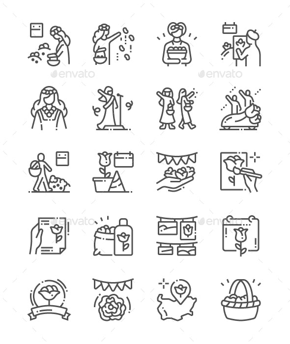 Rose Festival Line Icons - Business Icons