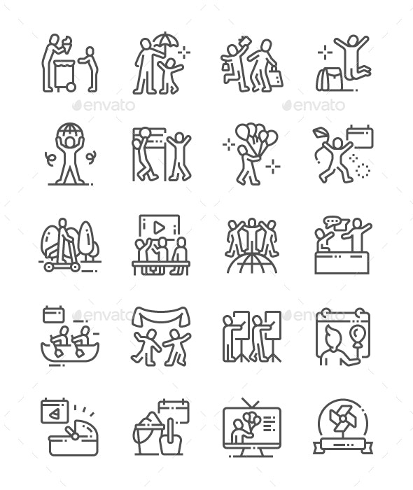 International Childrens Day Line Icons - People Characters