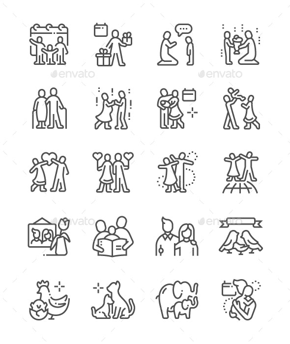 Global Day of Parents Line Icons - People Characters
