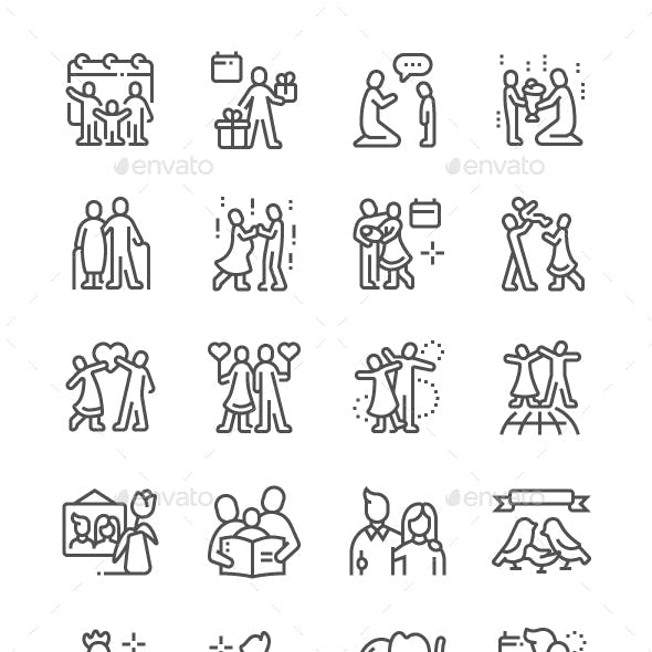 Global Day of Parents Line Icons