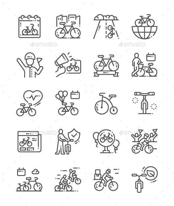 World Bicycle Day Line Icons - Technology Icons