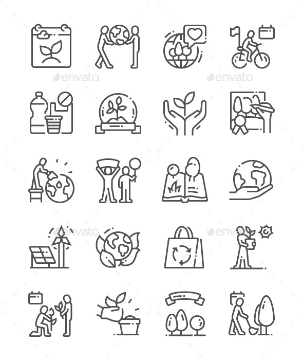 World Environment Day Line Icons - Miscellaneous Characters