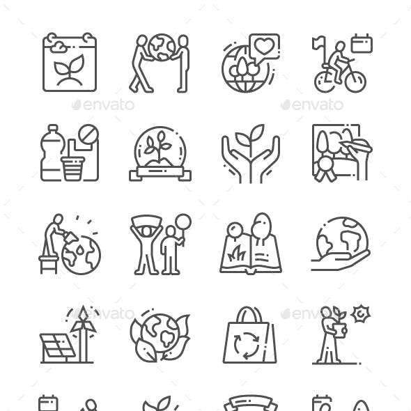World Environment Day Line Icons