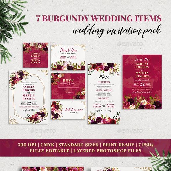 7 Burgundy Wedding Items