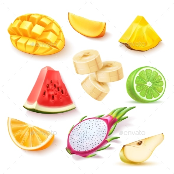 Vector Realistic Fresh Exotic Fruits Slices Set - Food Objects