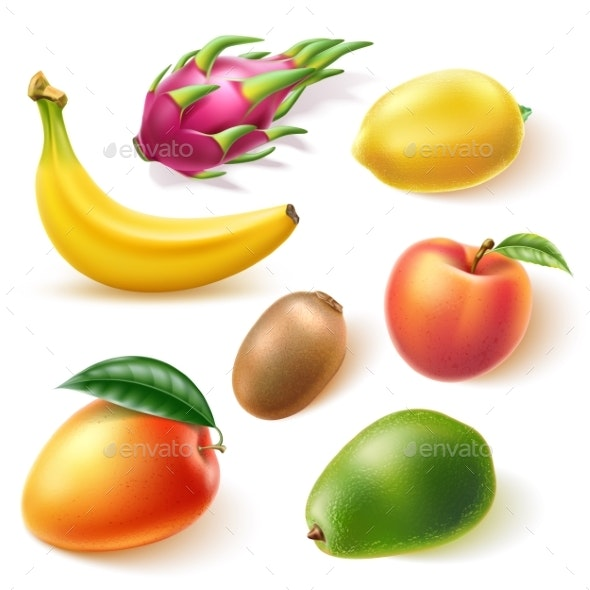 Vector Realistic Fresh Exotic Whole Fruits Set - Food Objects