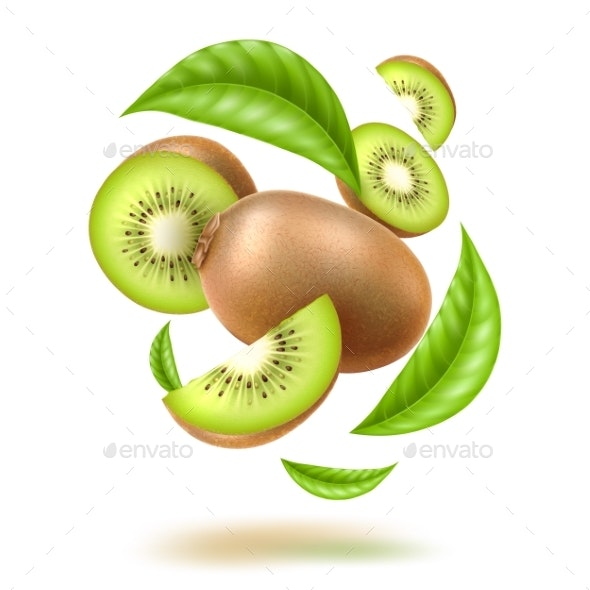 Vector Realistic Kiwi Swirl Motion with Leaves - Food Objects