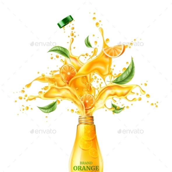 Vector 3d Orange Juice Splash Flowing Liquid