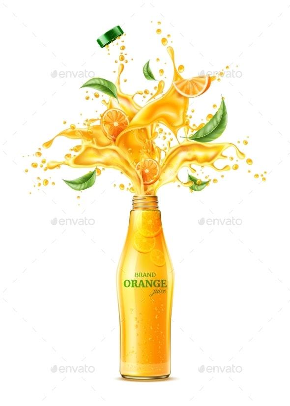 Vector 3d Orange Juice Splash Flowing Liquid - Food Objects