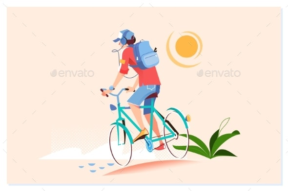 Happy Young Man Is Riding Bicycle Outside. Healthy - Sports/Activity Conceptual