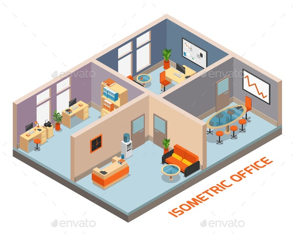 Isometric Office Interior Composition - Business Conceptual
