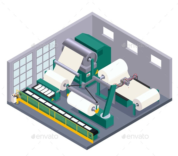 Paper Production Illustration - Industries Business