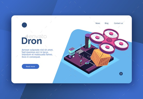 Autonomous Drone Isometric Website - Business Conceptual