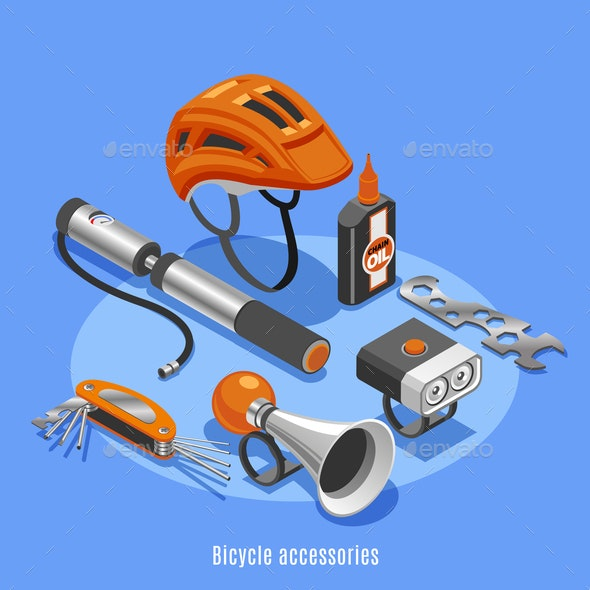 Bicycle Accessories Isometric Background - Miscellaneous Vectors