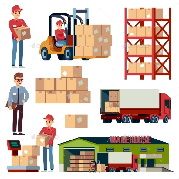 Warehouse Flat Elements. Logistic Transportation - Man-made Objects Objects