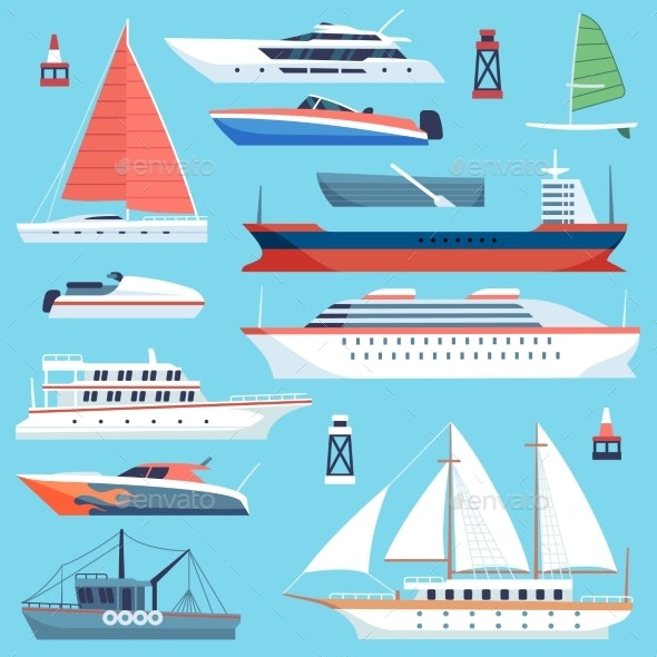 Ships Boats Flat. Maritime Transport, Ocean Cruise - Man-made Objects Objects