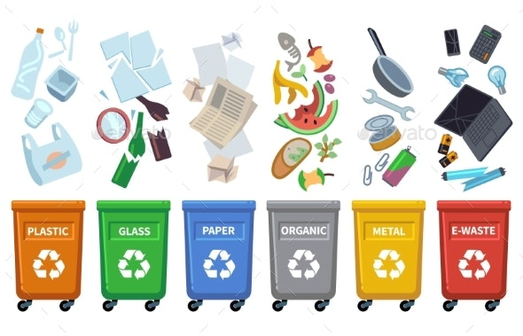 Recycle Waste Bins. Different Trash Types Color - Objects Vectors