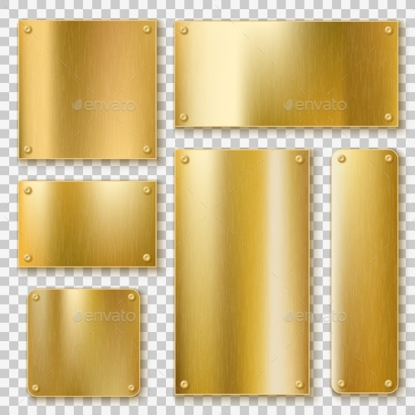 Golden Plates. Gold Metallic Yellow Plate, Shiny - Industries Business