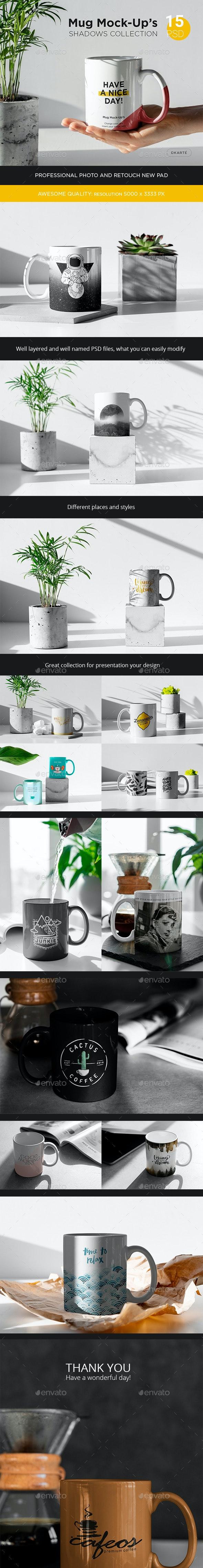 Mug Mock-Up's Shadows Collection - Product Mock-Ups Graphics
