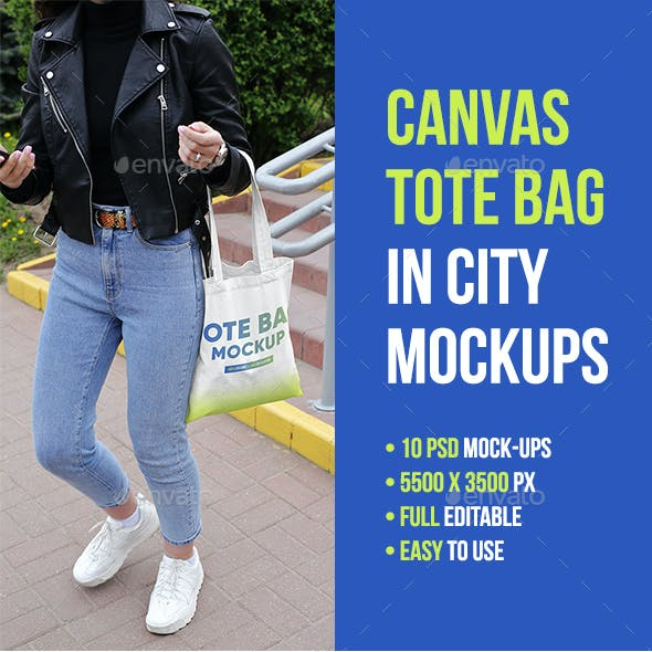 Canvas Tote Bag in City Mockups