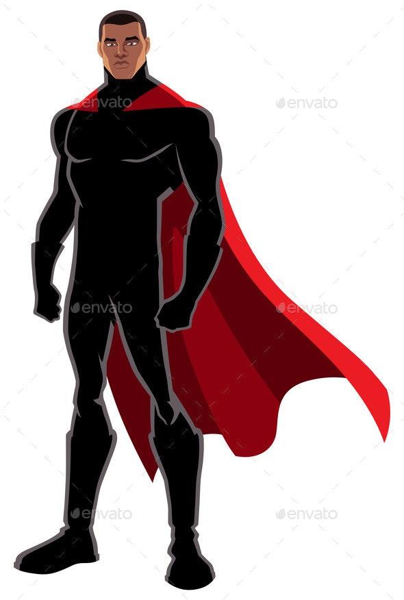 Superhero Black on White - People Characters
